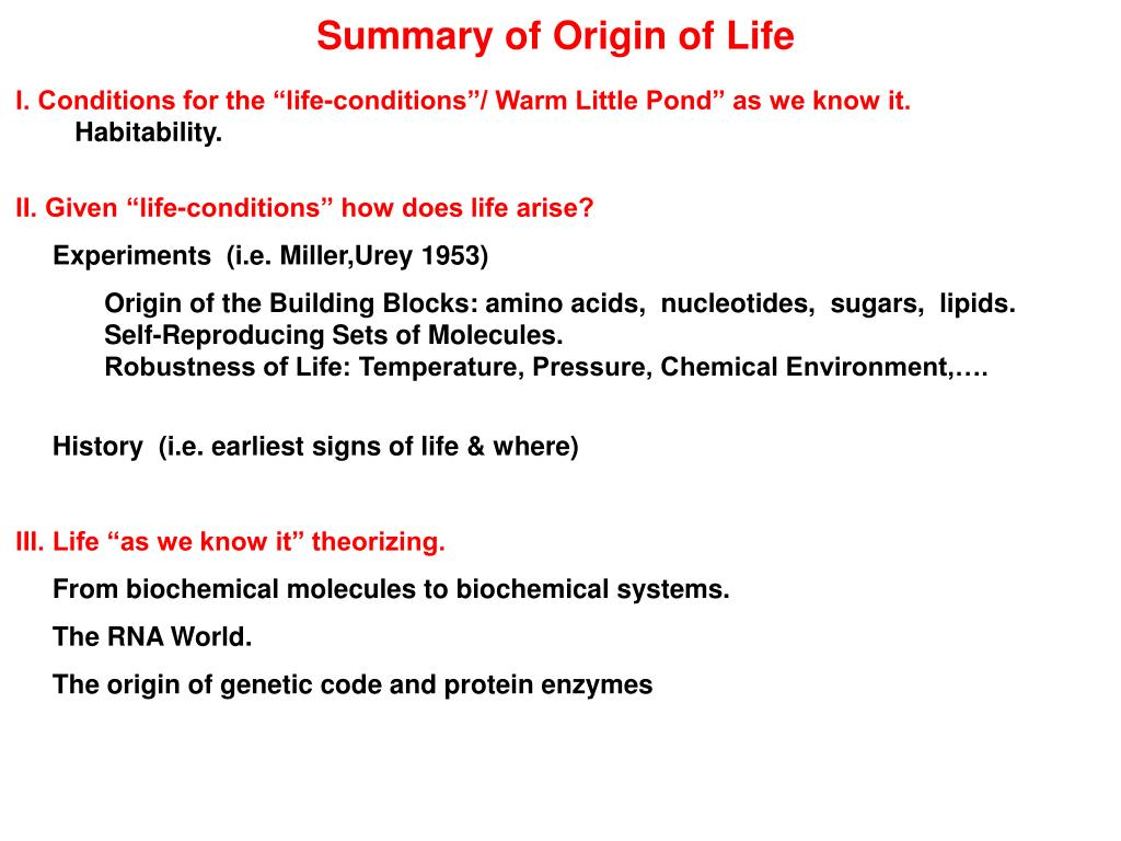 Summary of Origin of Life