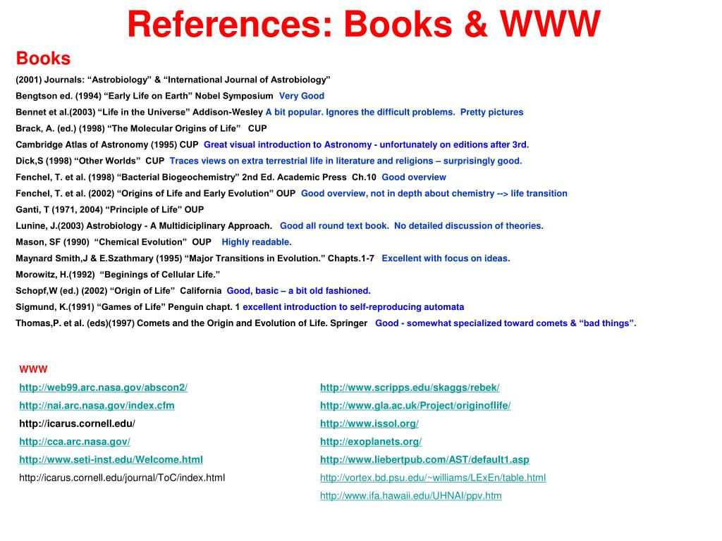 References: Books & WWW