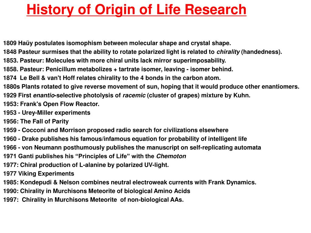 History of Origin of Life Research
