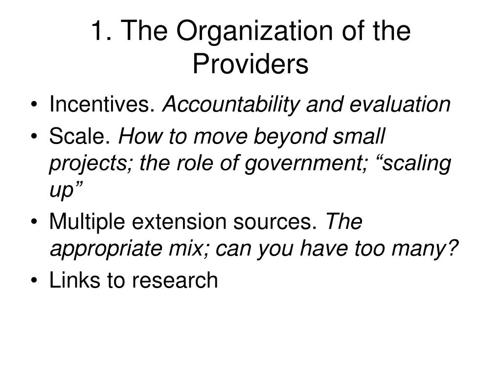 1. The Organization of the Providers