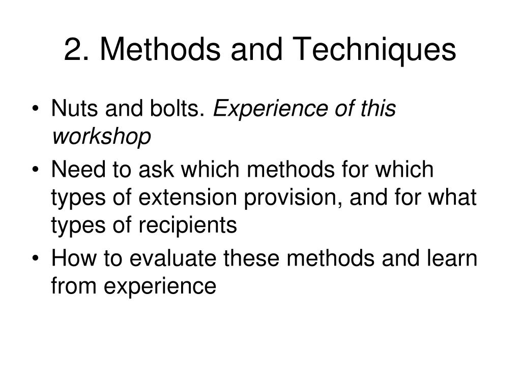 2. Methods and Techniques
