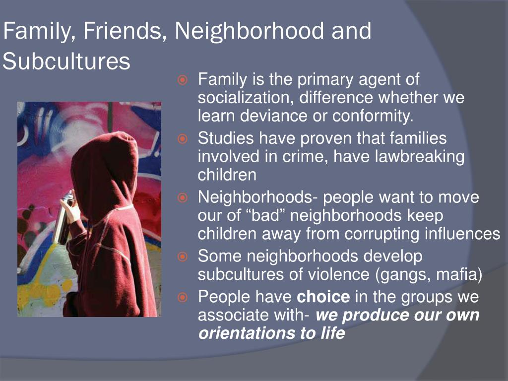 Family, Friends, Neighborhood and Subcultures