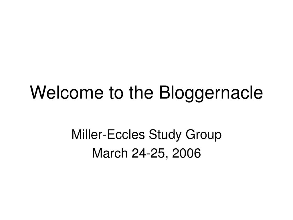 Welcome to the Bloggernacle