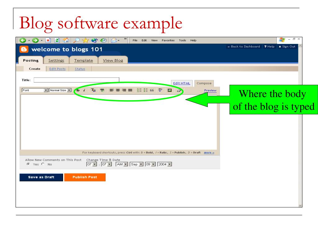 Blog software example