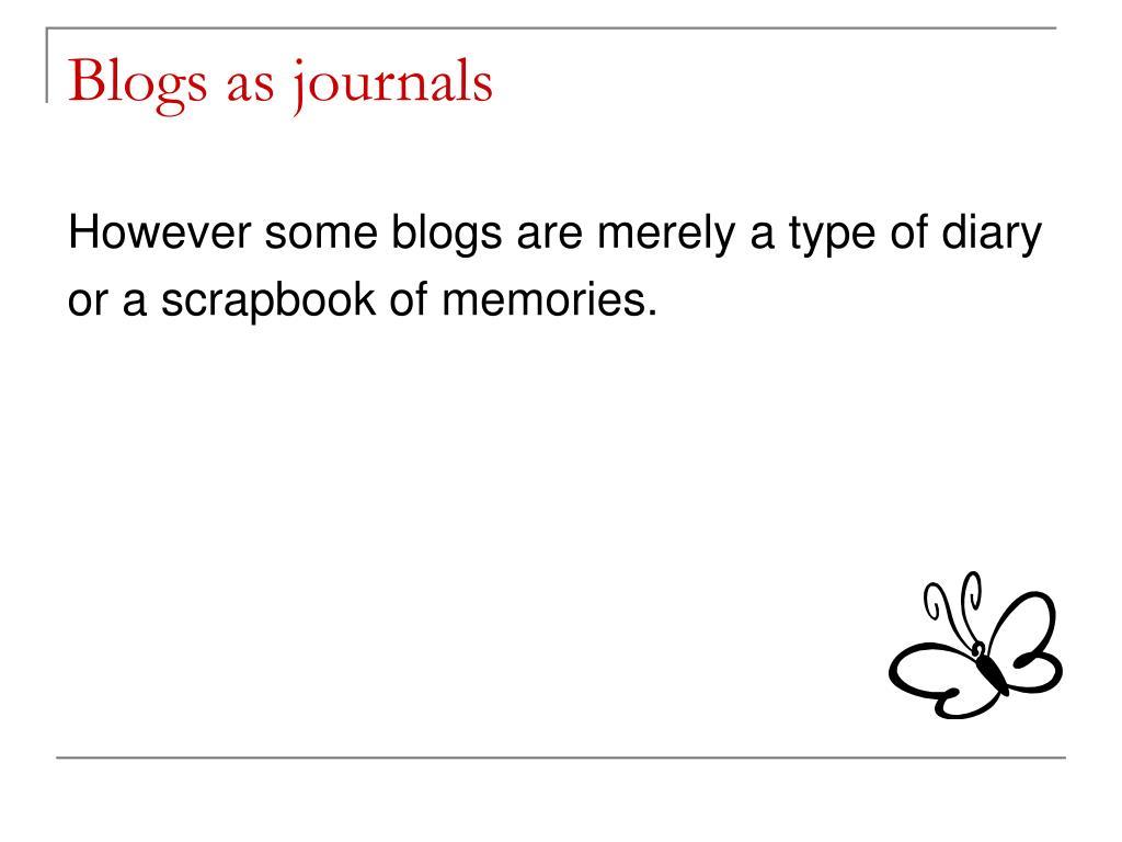 Blogs as journals