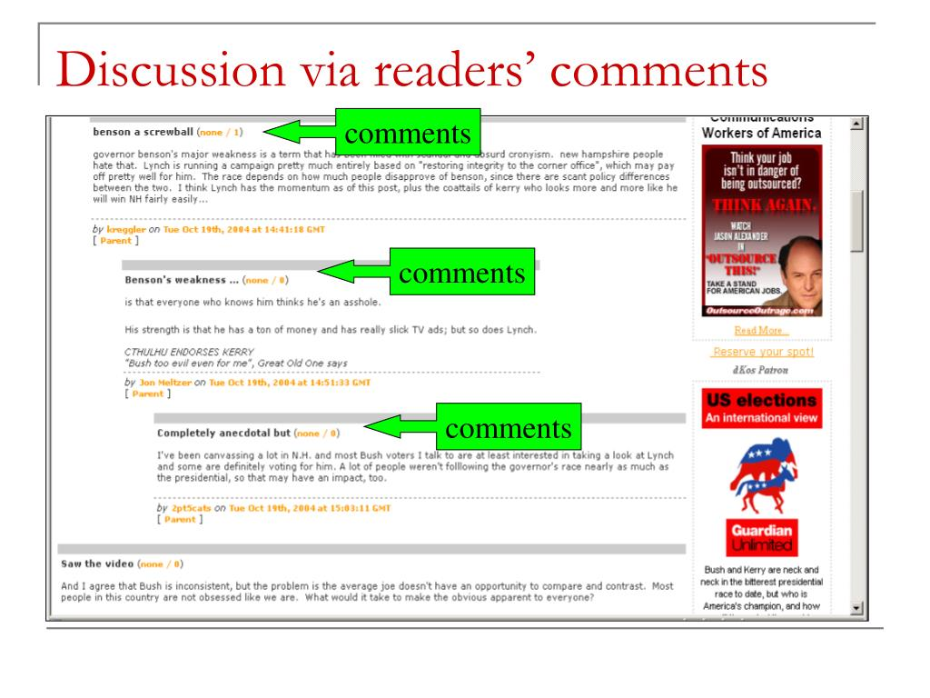 Discussion via readers' comments