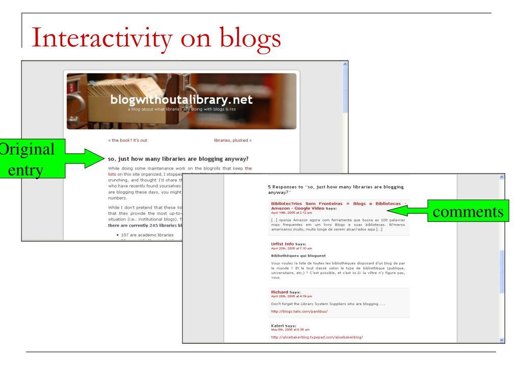 Interactivity on blogs