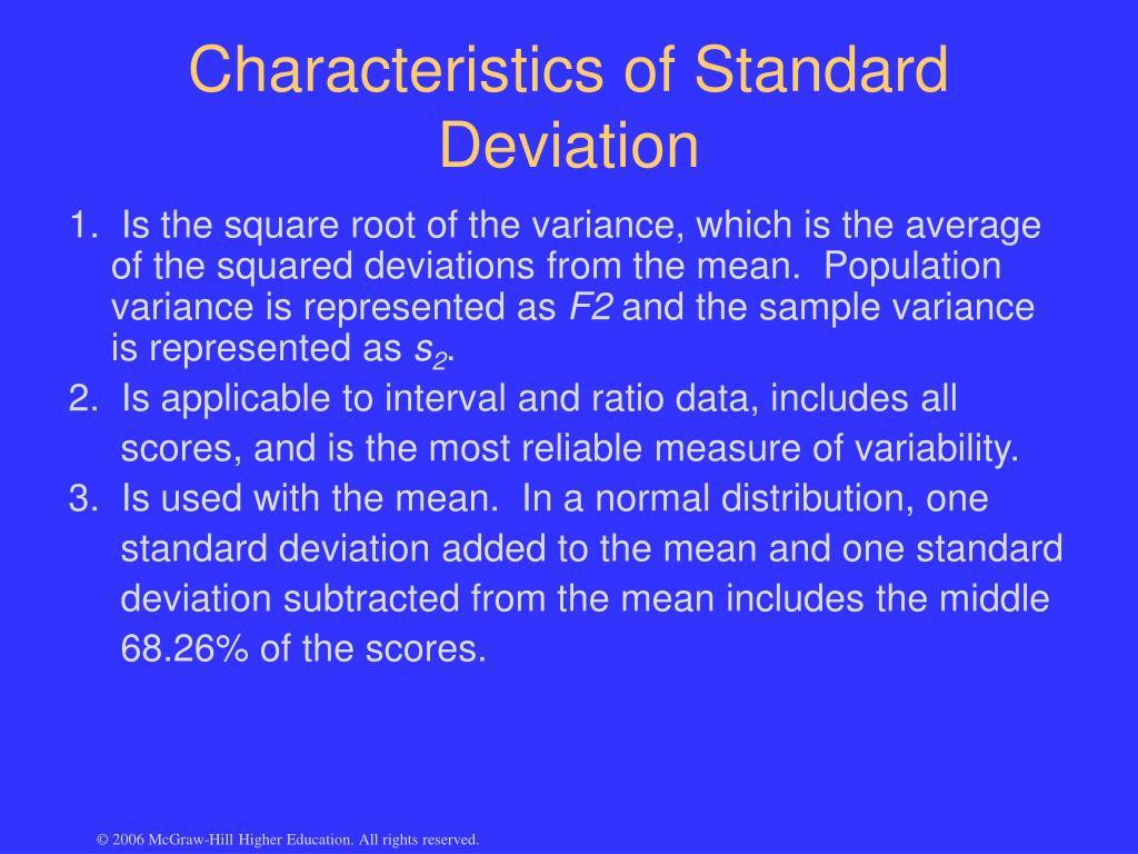 Characteristics of Standard Deviation