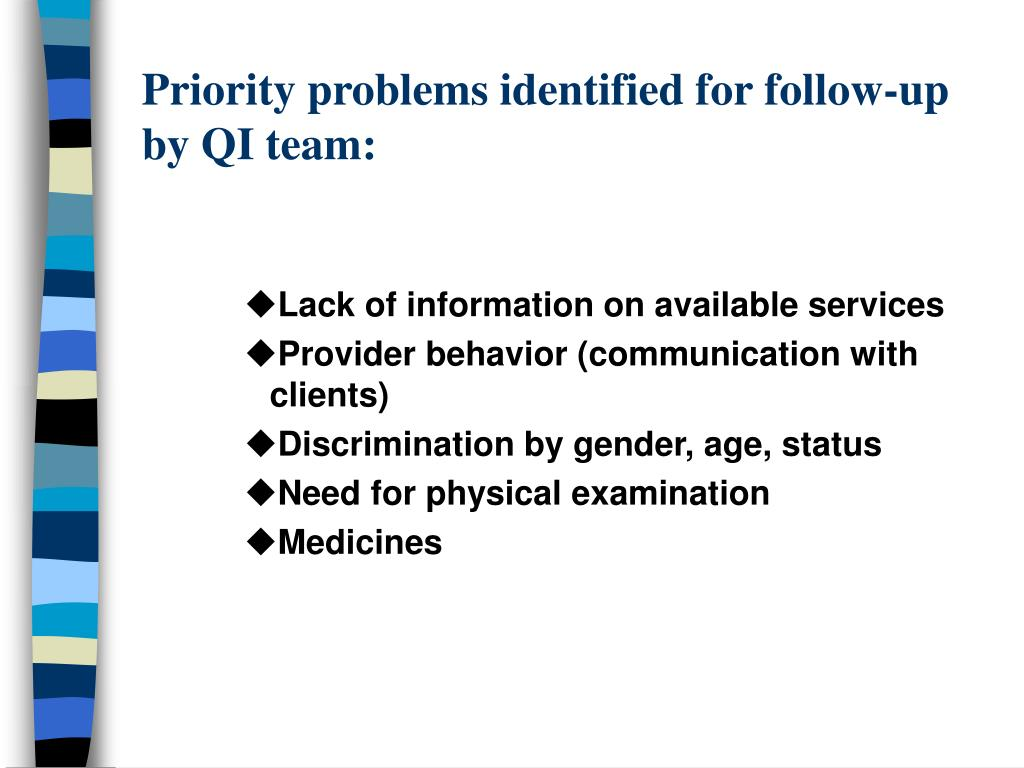 Priority problems identified for follow-up by QI team: