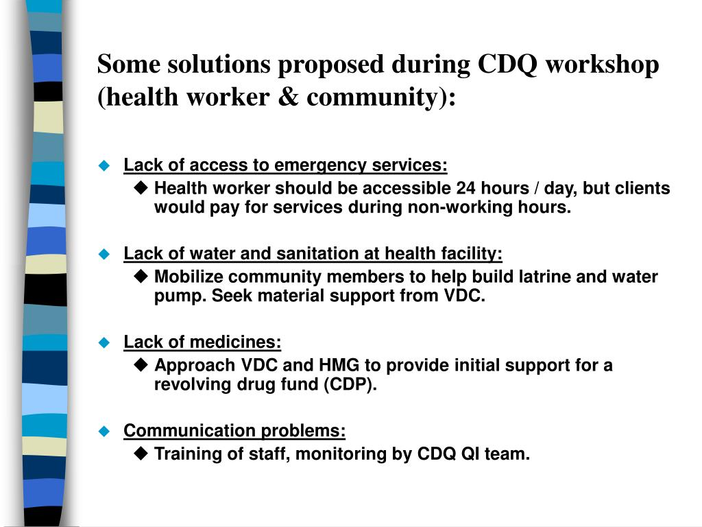 Some solutions proposed during CDQ workshop (health worker & community):