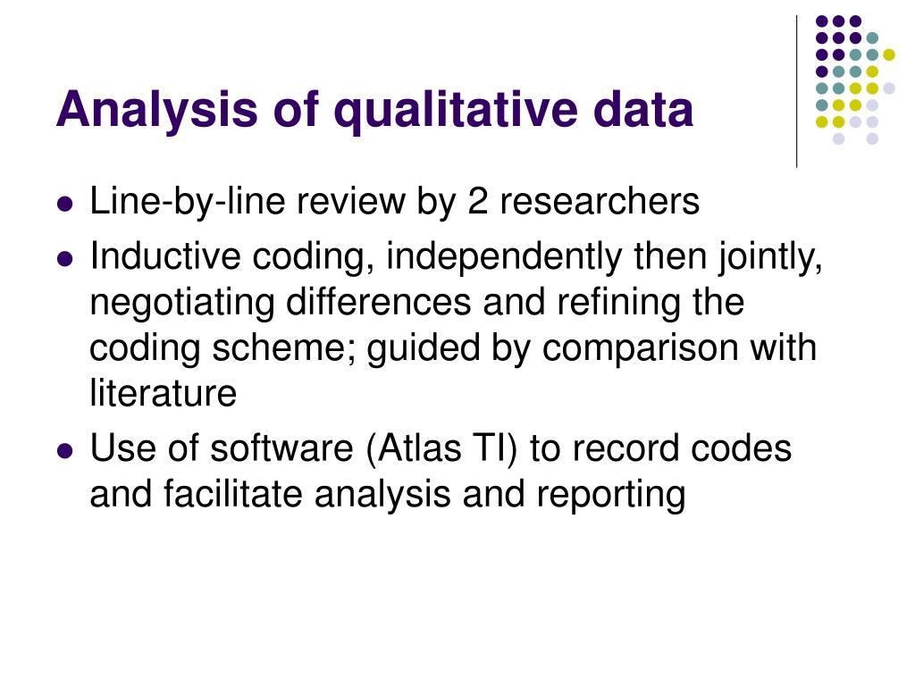 Analysis of qualitative data
