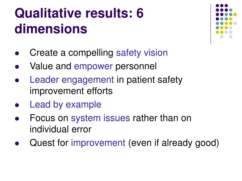 Qualitative results: 6 dimensions
