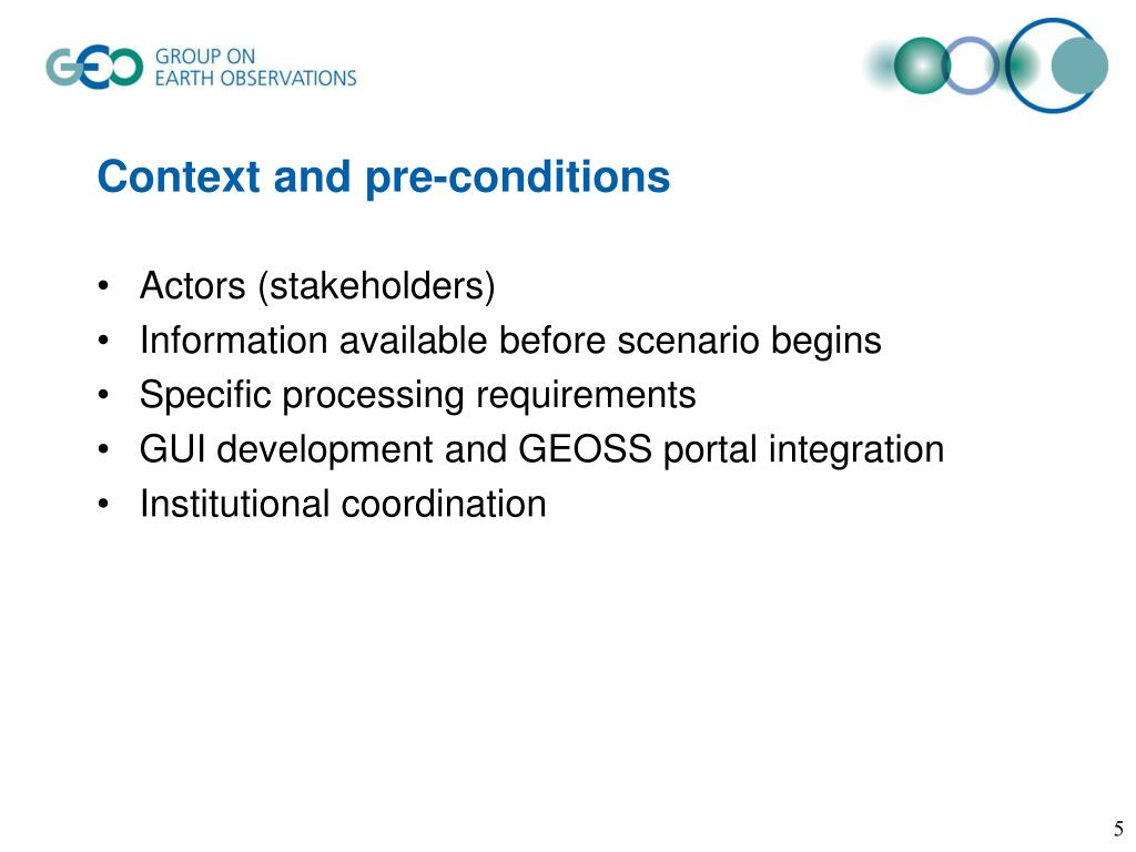 Context and pre-conditions