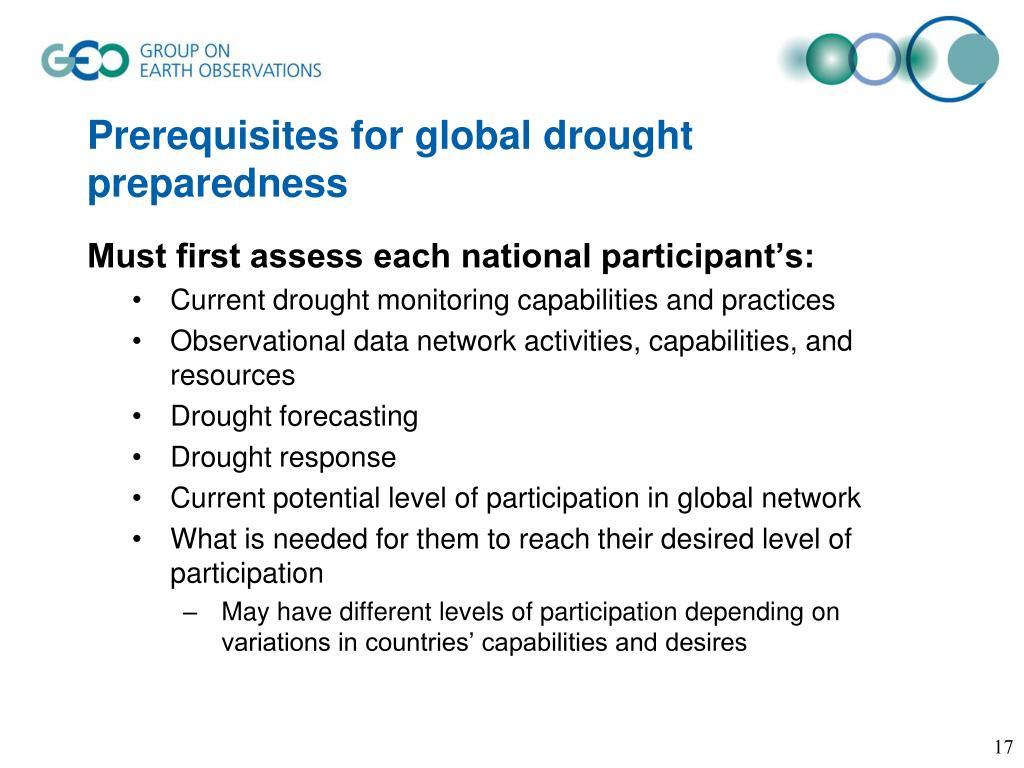 Prerequisites for global drought preparedness