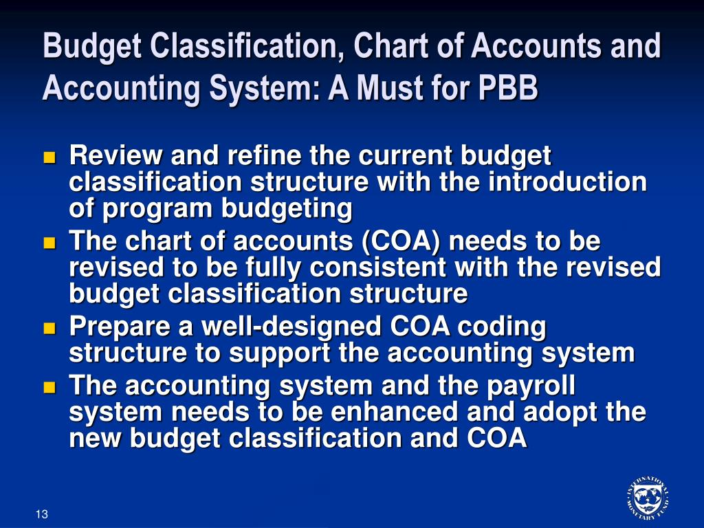 Budget Classification, Chart of Accounts and Accounting System: A Must for PBB