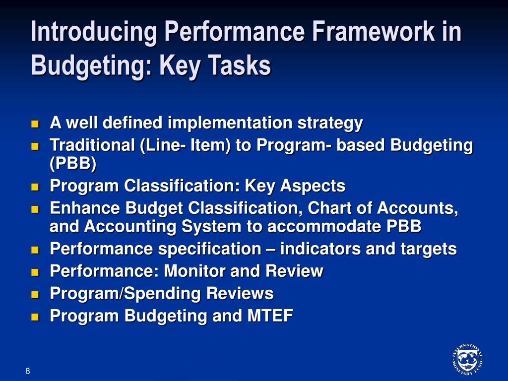 Introducing Performance Framework in Budgeting: Key Tasks