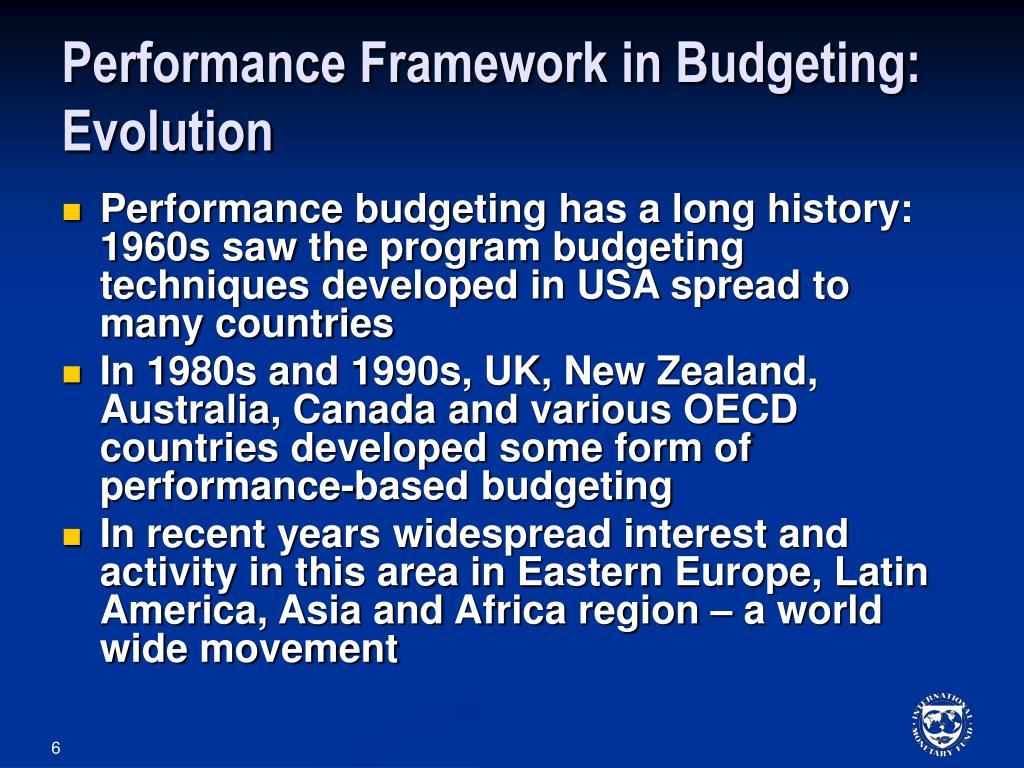 Performance Framework in Budgeting: Evolution