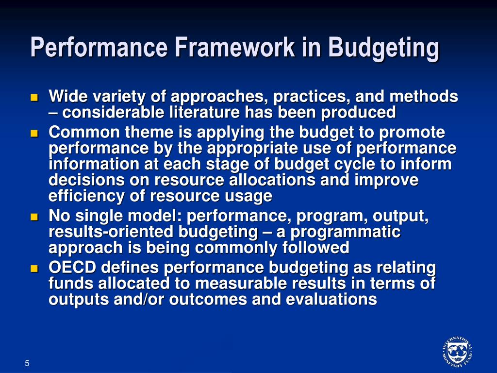 Performance Framework in Budgeting