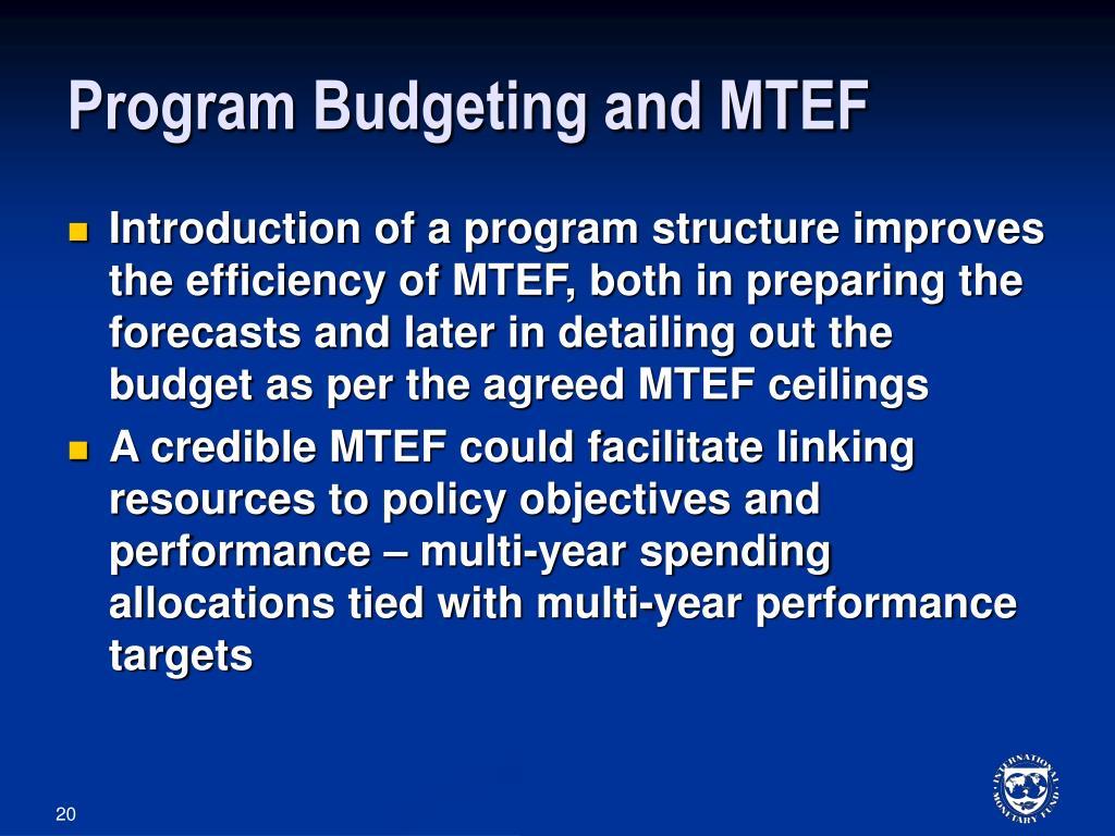 Program Budgeting and MTEF