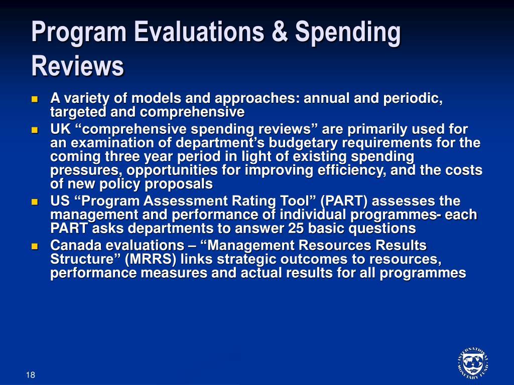 Program Evaluations & Spending Reviews