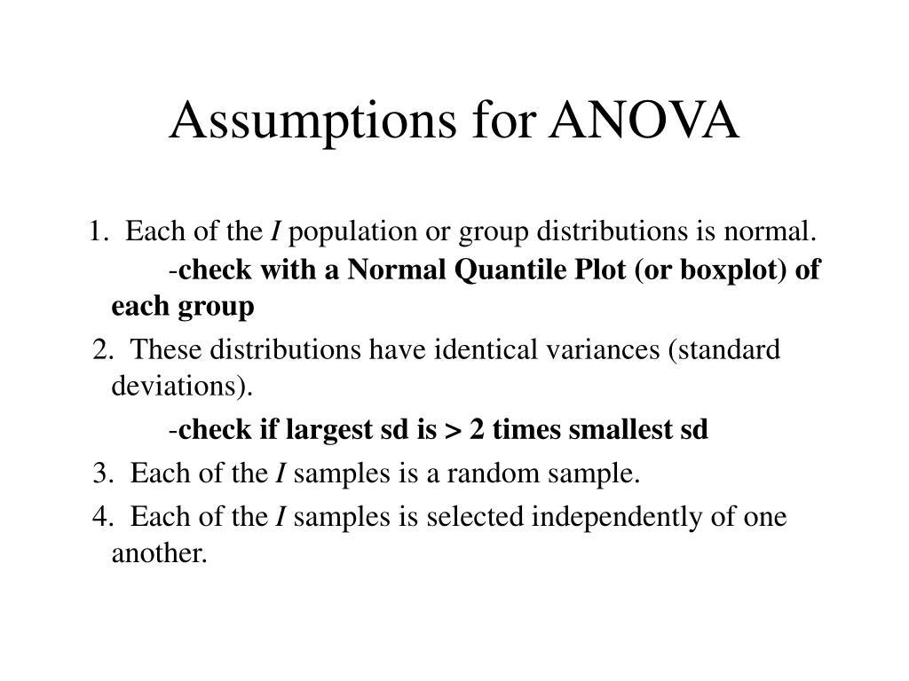 Assumptions for ANOVA