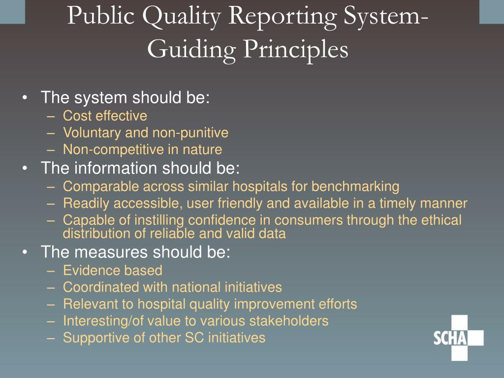 Public Quality Reporting System- Guiding Principles