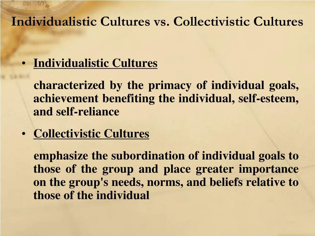 Individualistic Cultures vs. Collectivistic Cultures
