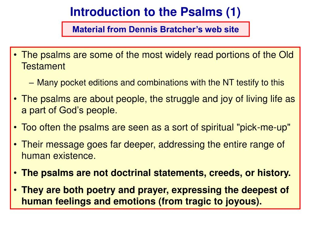 Introduction to the Psalms (1)