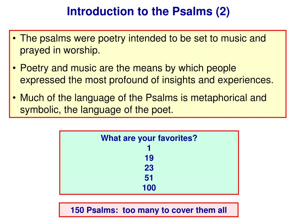 Introduction to the Psalms (2)