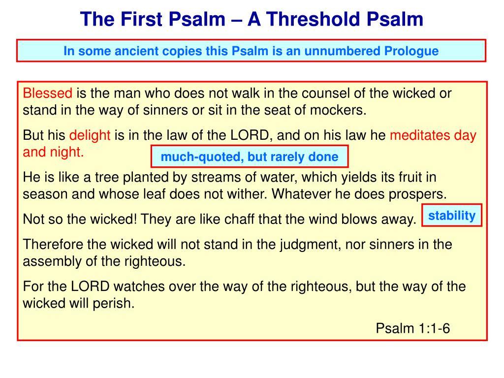 The First Psalm – A Threshold Psalm