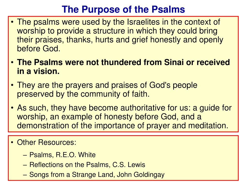 The Purpose of the Psalms