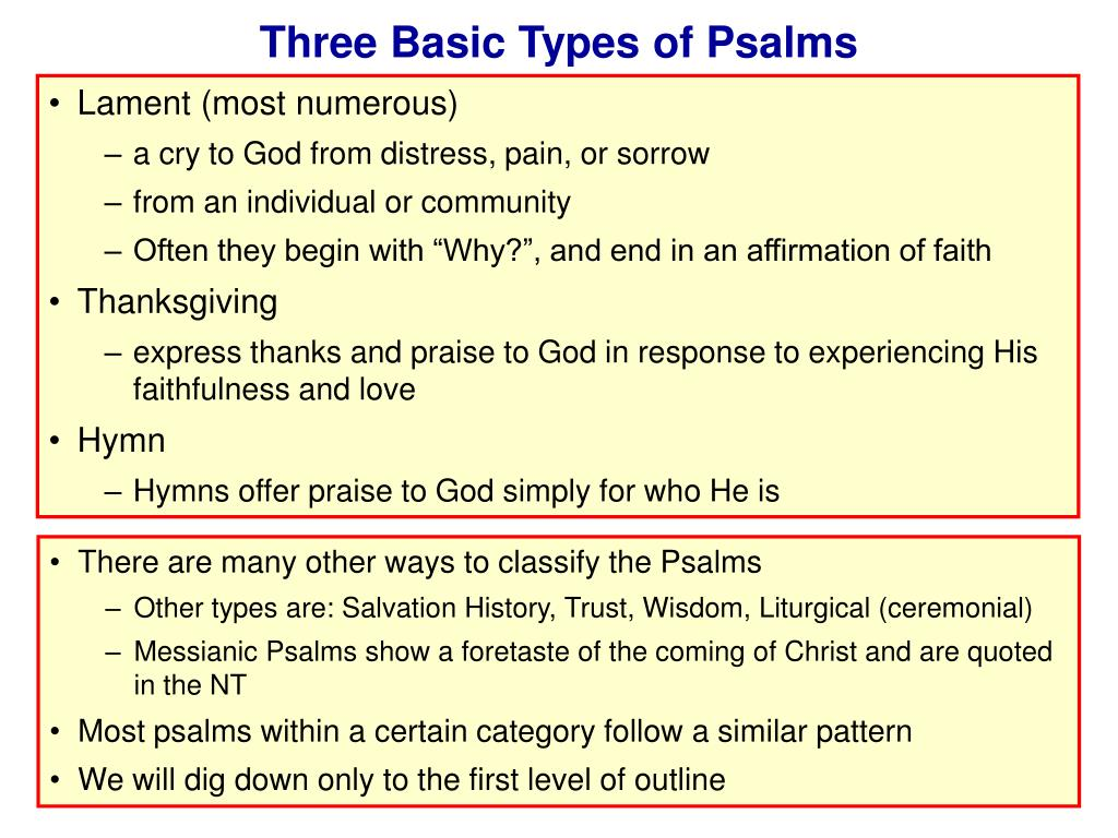 Three Basic Types of Psalms