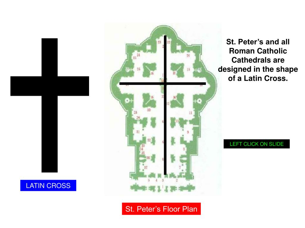 St. Peter's and all Roman Catholic Cathedrals are designed in the shape of a Latin Cross.