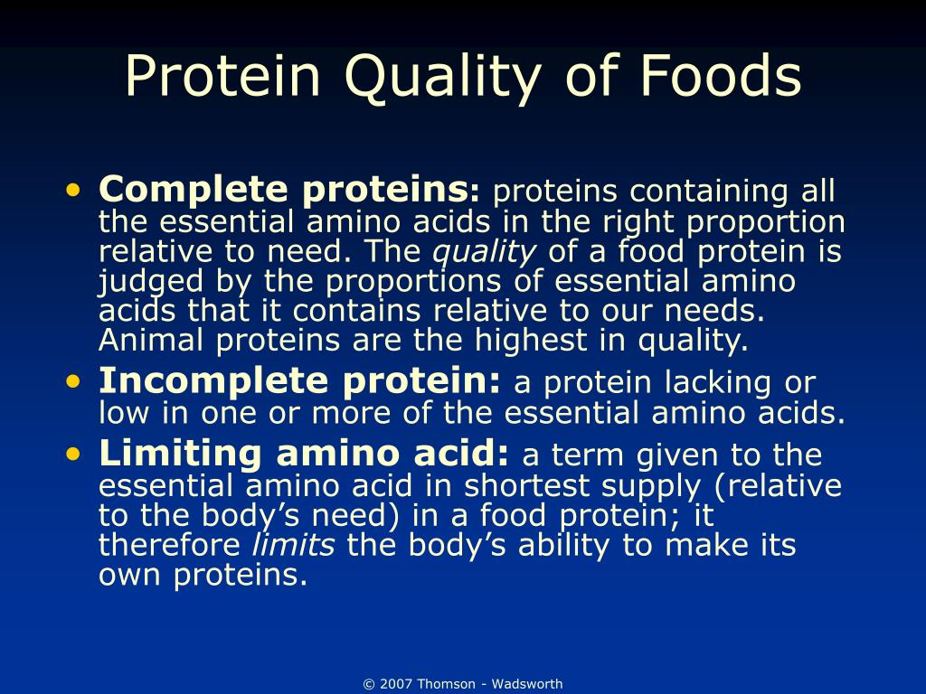 Protein Quality of Foods