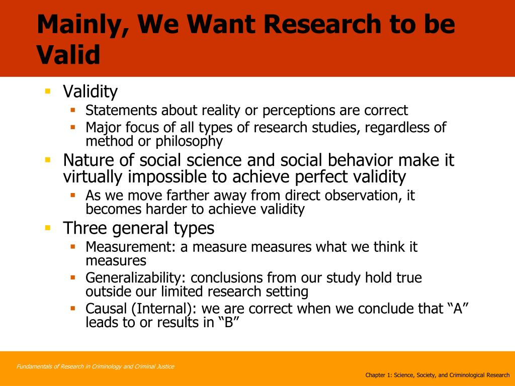 Mainly, We Want Research to be Valid