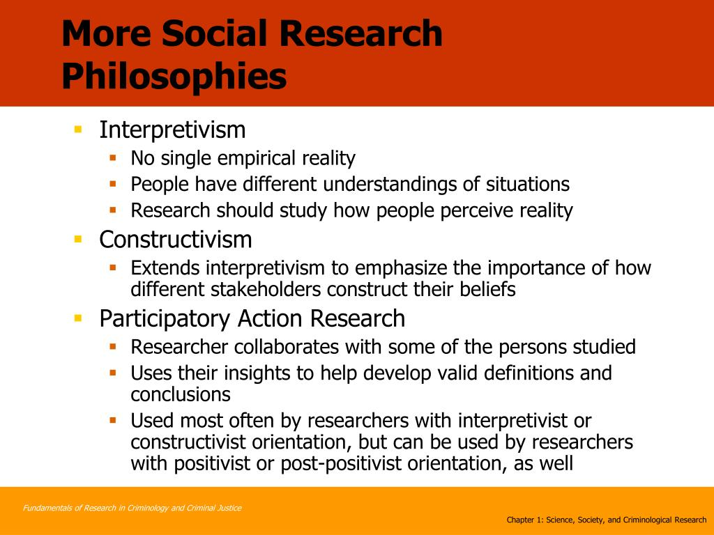 More Social Research Philosophies