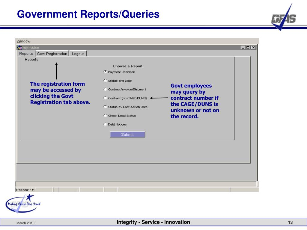 Government Reports/Queries