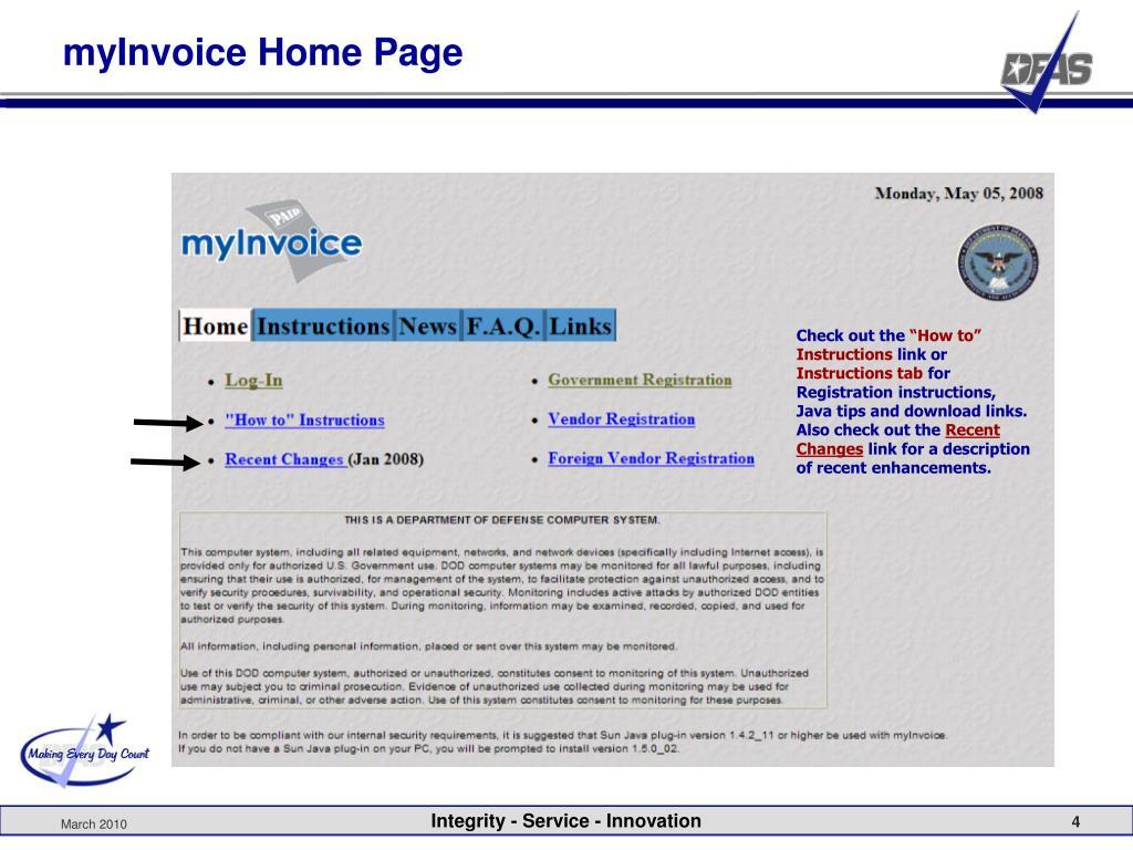 myInvoice Home Page