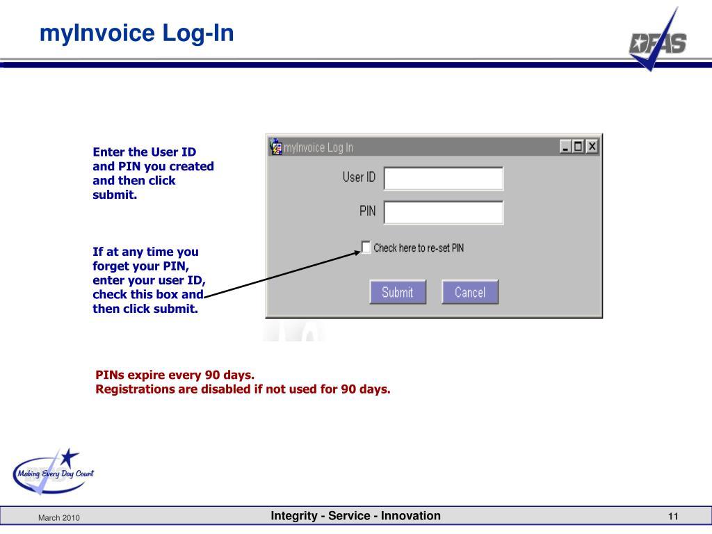 myInvoice Log-In