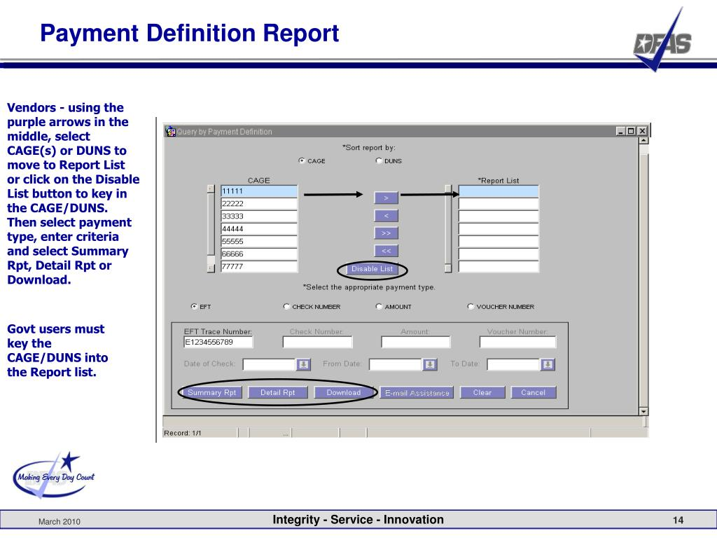 Payment Definition Report