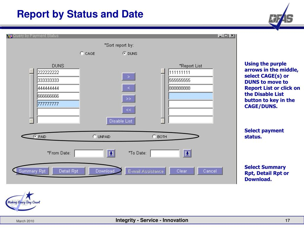 Report by Status and Date