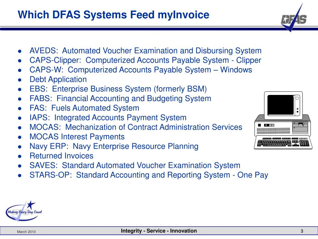 Which DFAS Systems Feed myInvoice