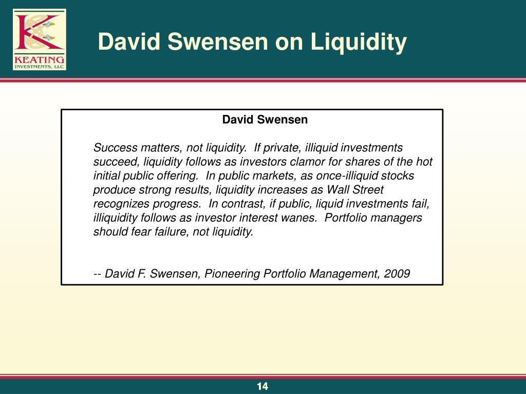 David Swensen on Liquidity