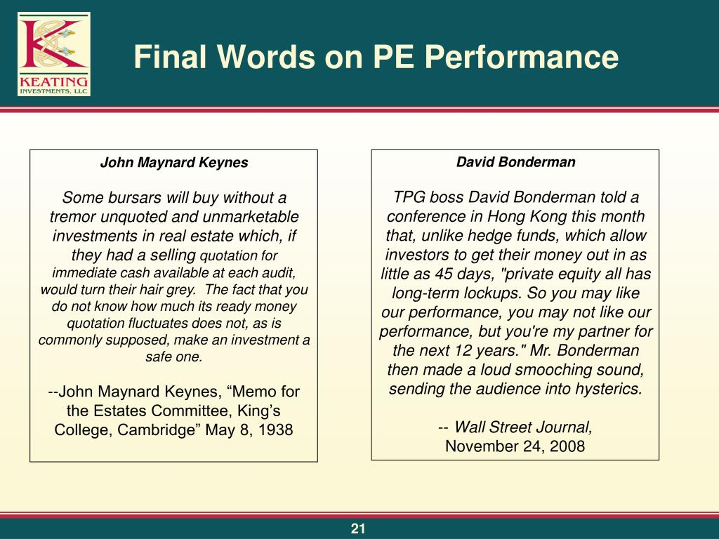 Final Words on PE Performance