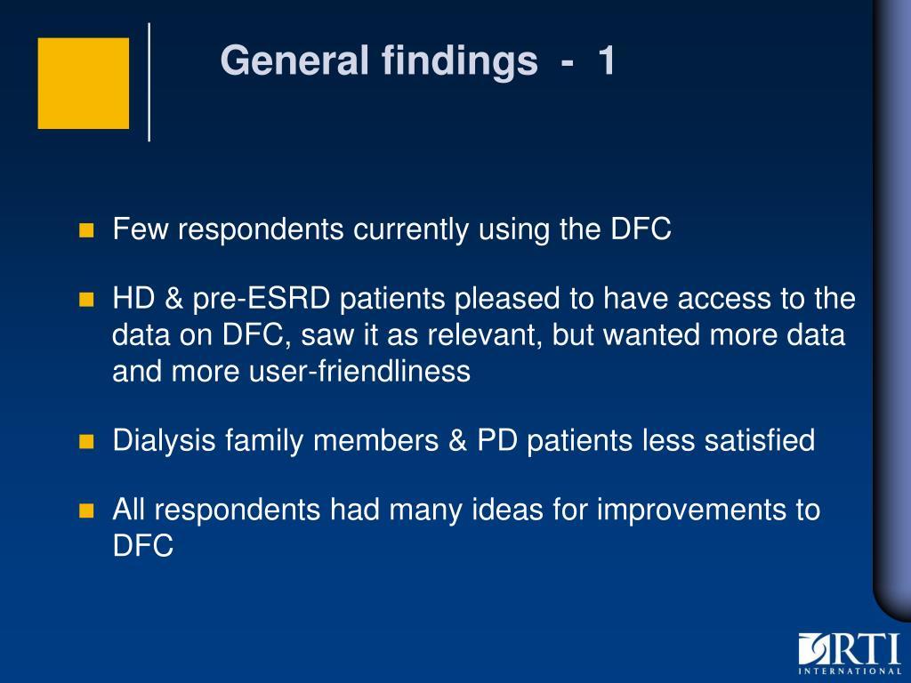 General findings  -  1