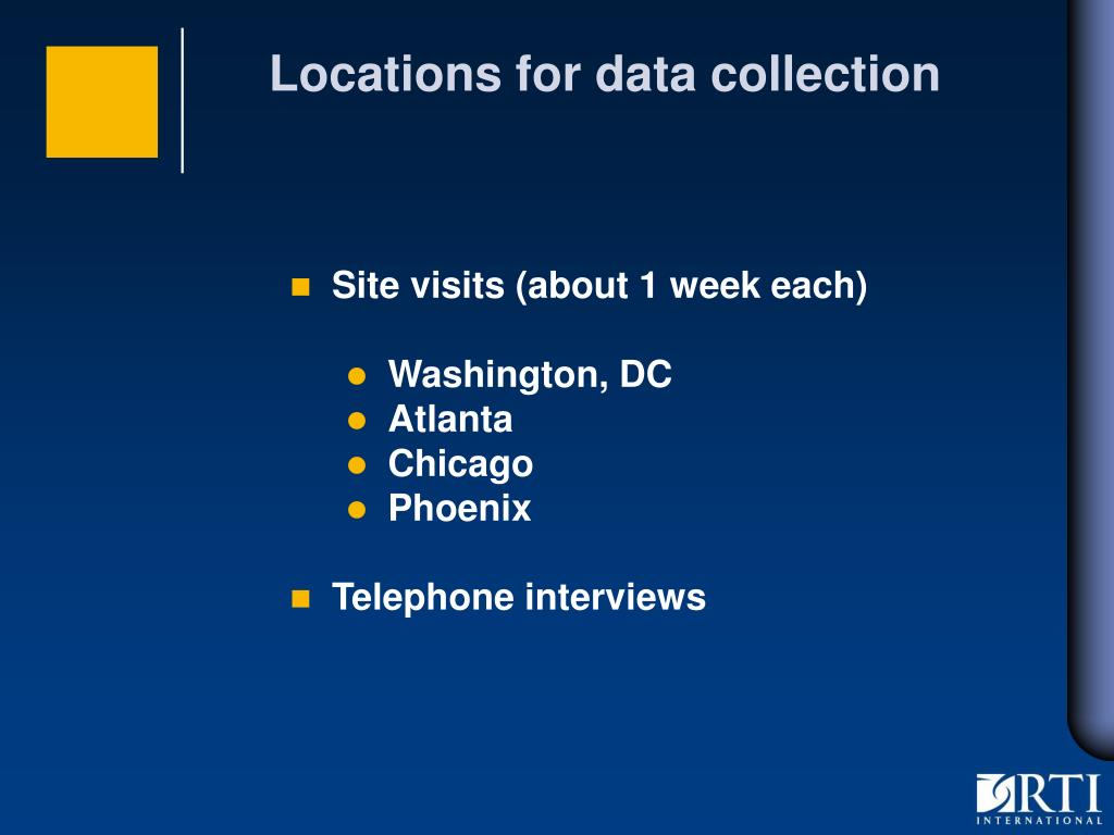 Locations for data collection