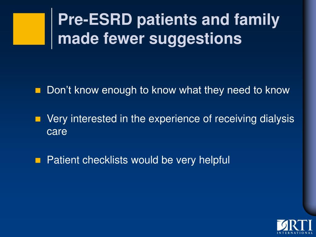 Pre-ESRD patients and family made fewer suggestions