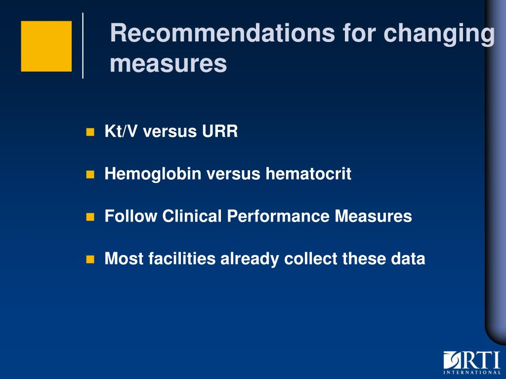 Recommendations for changing measures