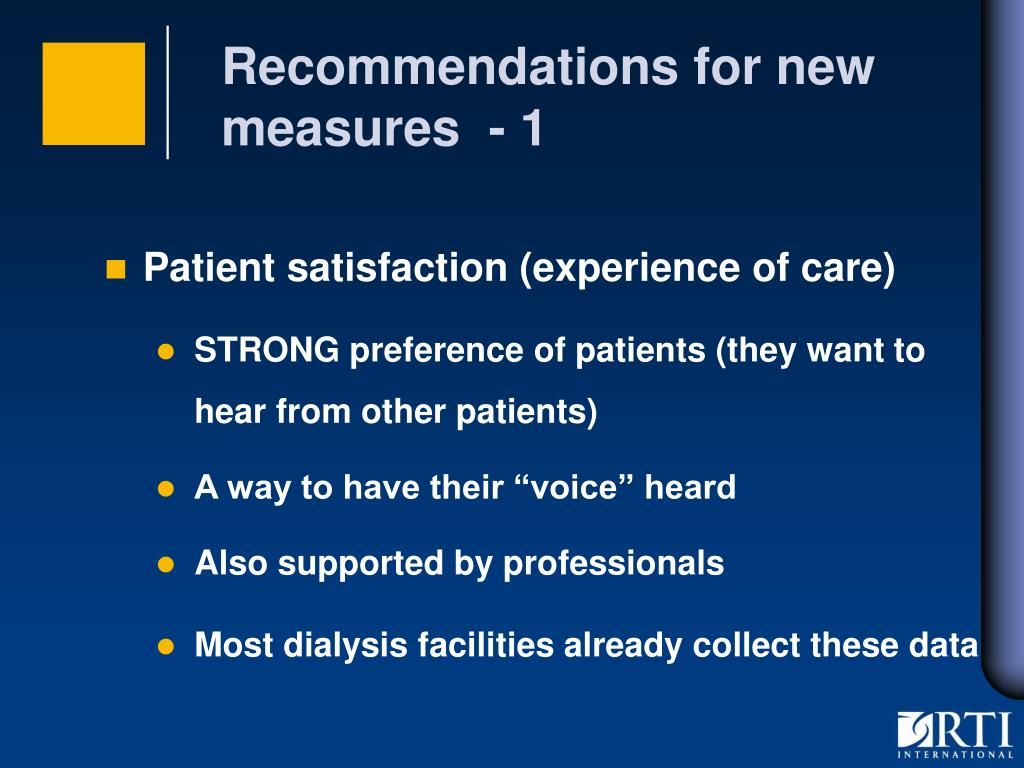 Recommendations for new measures  - 1