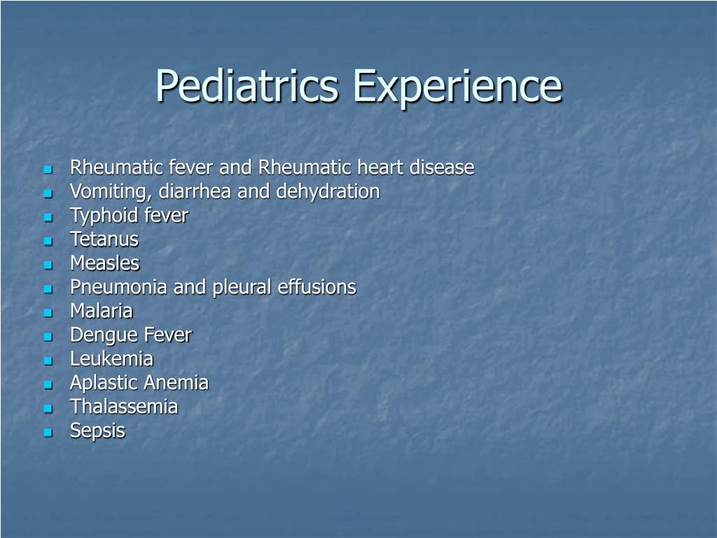 Pediatrics Experience